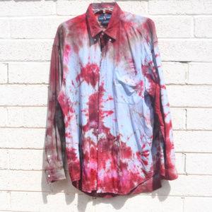 Blue Denim Ralph Laure Tie Dyed Shirt Big Large